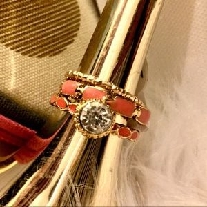 Jewelry - 3 pc Coral and Gold Ring Set
